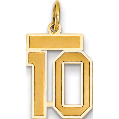 14k Yellow Gold Small Satin Number 10 Pendant / (Number 10 Charm Pendant)