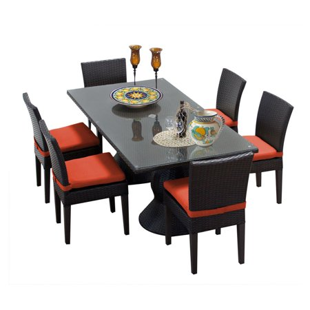 Tk Classics Napa Wicker 7 Piece Rectangular Patio Dining Set With 12 Cushion Covers