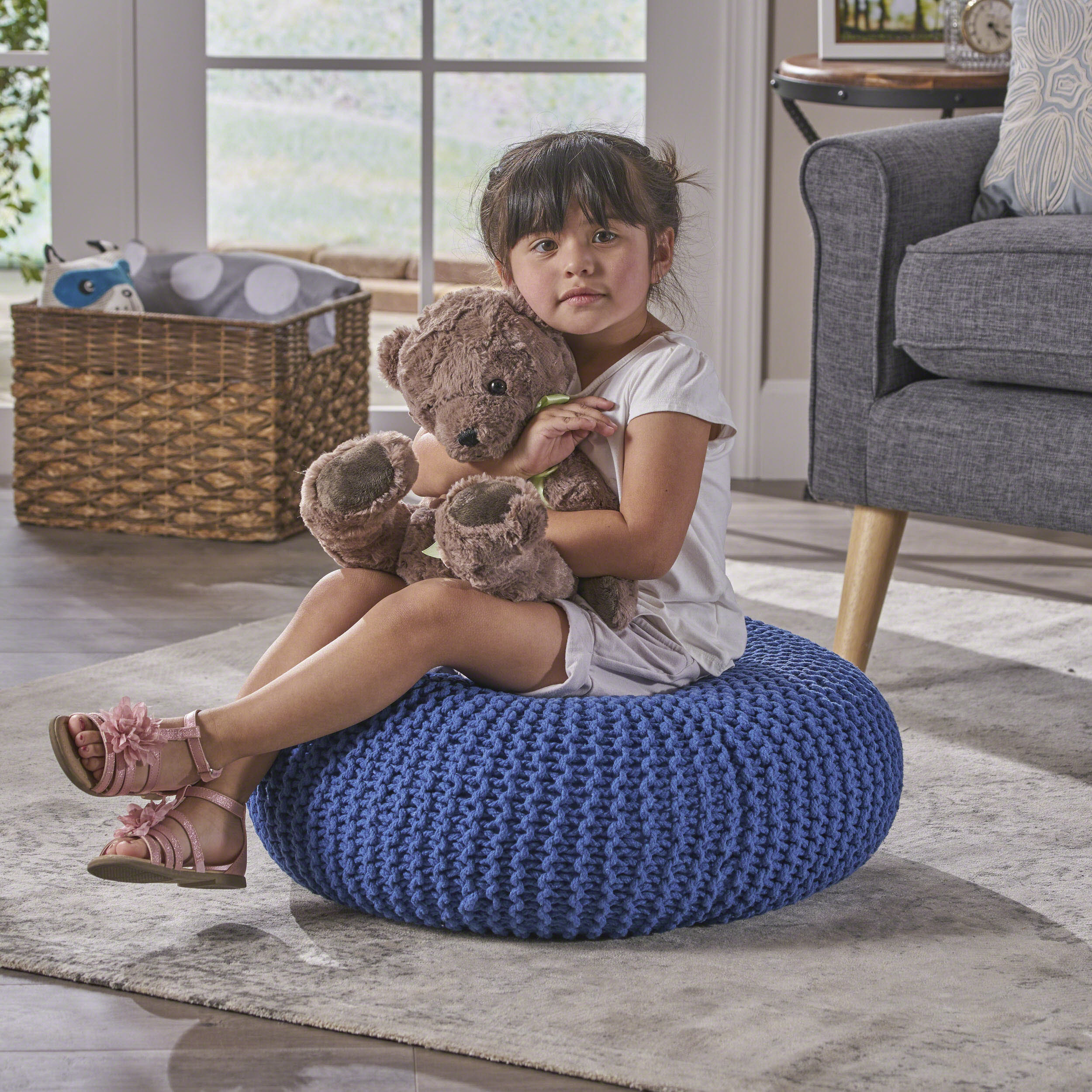 Noble House Evelyn Knitted Cotton Donut Pouf, Navy