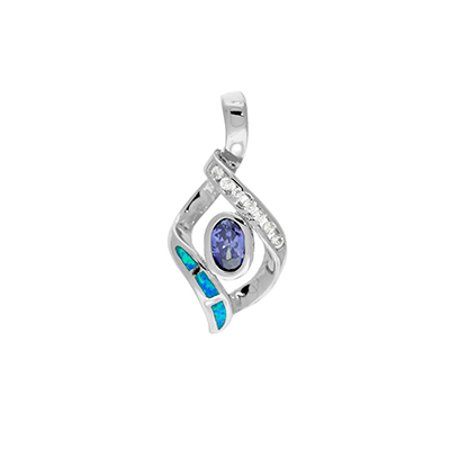 "ZilverZoom Sterling Silver Blue Tanzanite Opal Diamond Pendant Free Silver 18"" Chain"