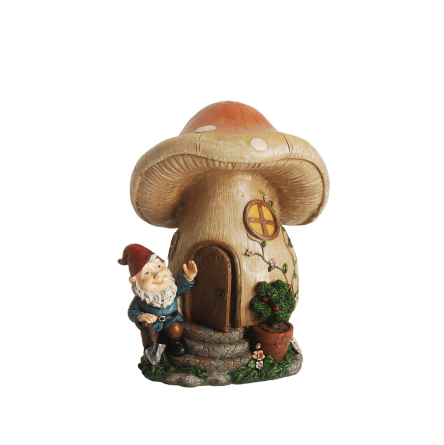 """12"""" Forest Gnome with Mushroom House Outdoor Patio Garden Statue by Northlight"""