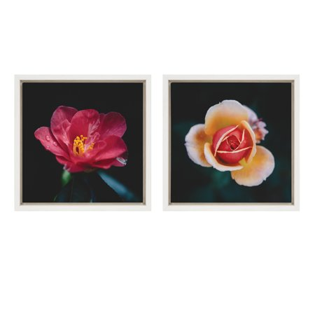Kate and Laurel Sylvie Aislyn and Lyla Flowers Pink Red Yellow Floral Roses Framed Canvas Wall Art, White 13x13, 2 Piece - Lycra Roses