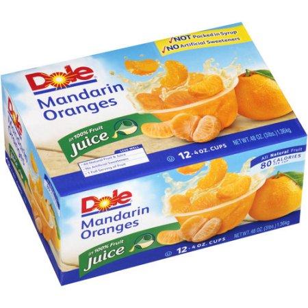 Dole Mandarin Oranges in 100% Juice, 4 oz, 12 ct