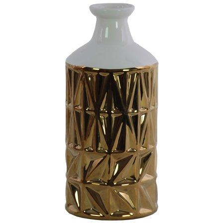 Urban Trends Collection: Ceramic Vase Polished Chrome Finish White, Gold ()