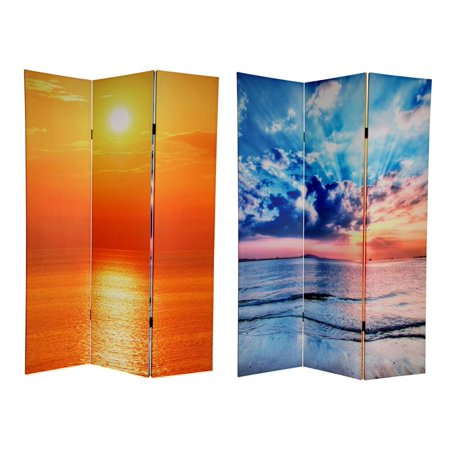 Double Sided 6 ft. Tall Sunrise Canvas Privacy Screen - 3 Panels - Oriental Screen