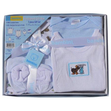Bambini Newborn Baby Shower Layette Gift Box Set, 5pc (Baby Boys)