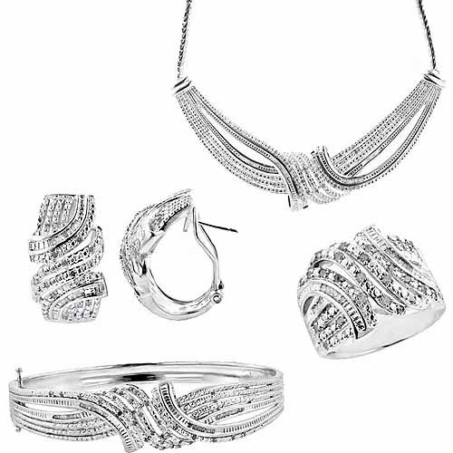 "2-Carat T.W. Round White Diamond Rhodium-plated Ring, Earrings, Bangle and Necklace Set, 17"", Size 7"
