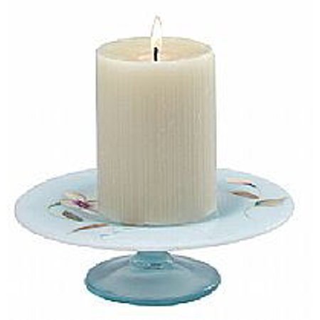 Fenton Art Glass 89197T Sand Petals on Aquamarine Opalescent Stretch Candle Plate