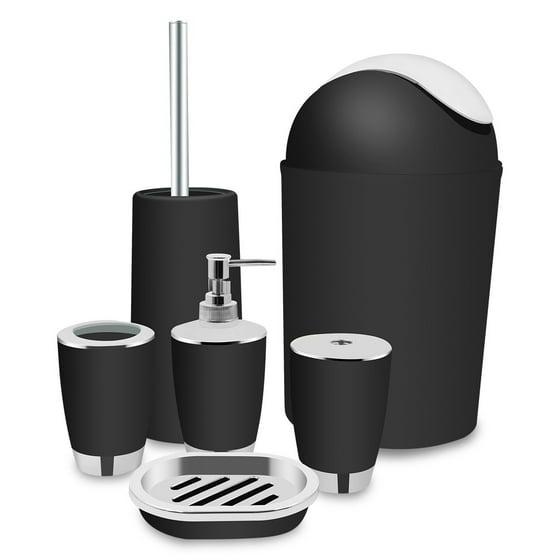 eecoo 6 piece plastic bathroom accessory set luxury bath. Black Bedroom Furniture Sets. Home Design Ideas