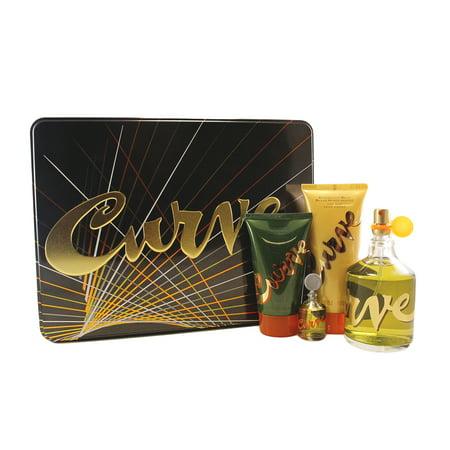 Curve 4 Pc. Gift Set ( Cologne Spray 4.2 Oz + Mini 0.25 Oz + After Shave 3.4 Oz + Hair & Body Wash 2.5 Oz) for Men by Liz Claiborne ()