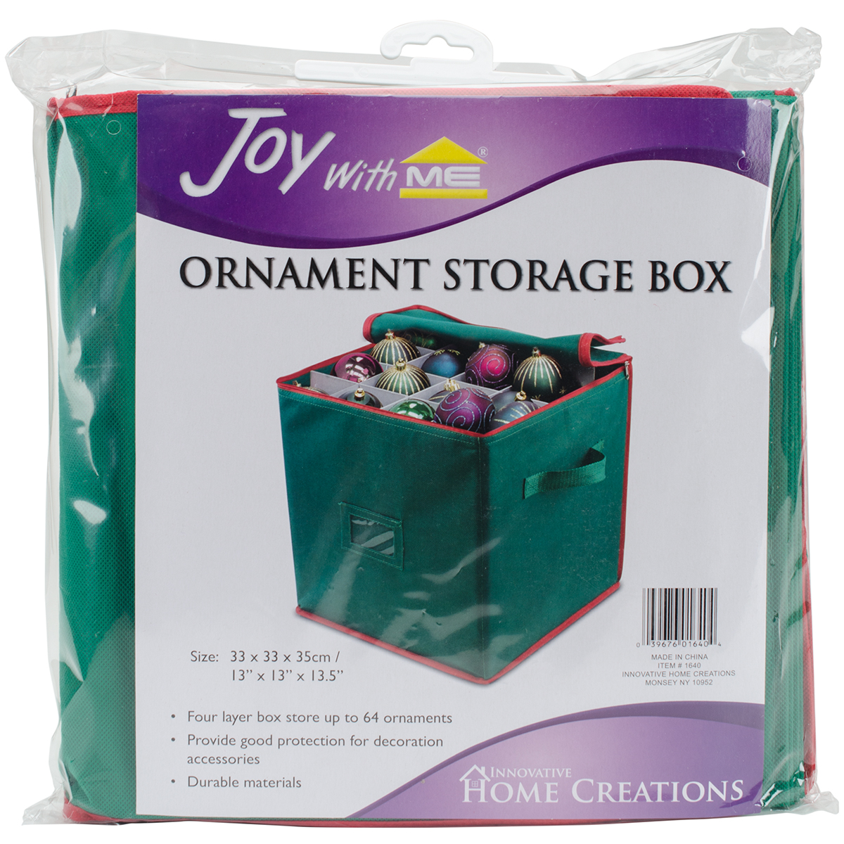"Ornament Storage Box, 13.5"" x 13"" x 13"""