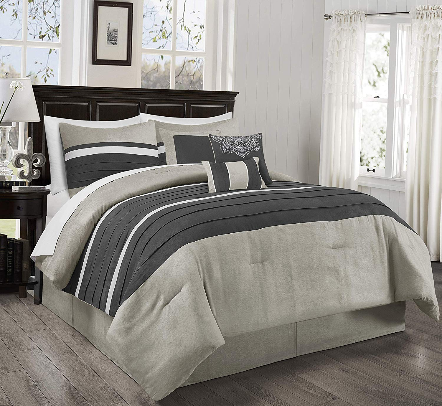 Chezmoi Collection Princeton 7-Piece Western Lodge Micro Suede Bedding Comforter Set