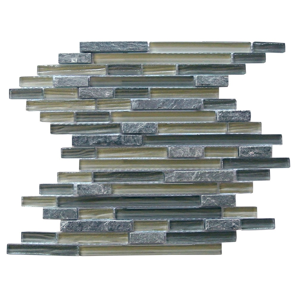 Abolos- New Era II Random Sized Glass and Slate Mosaic Tile in Shell Grey (11sqft / 11pc Box)
