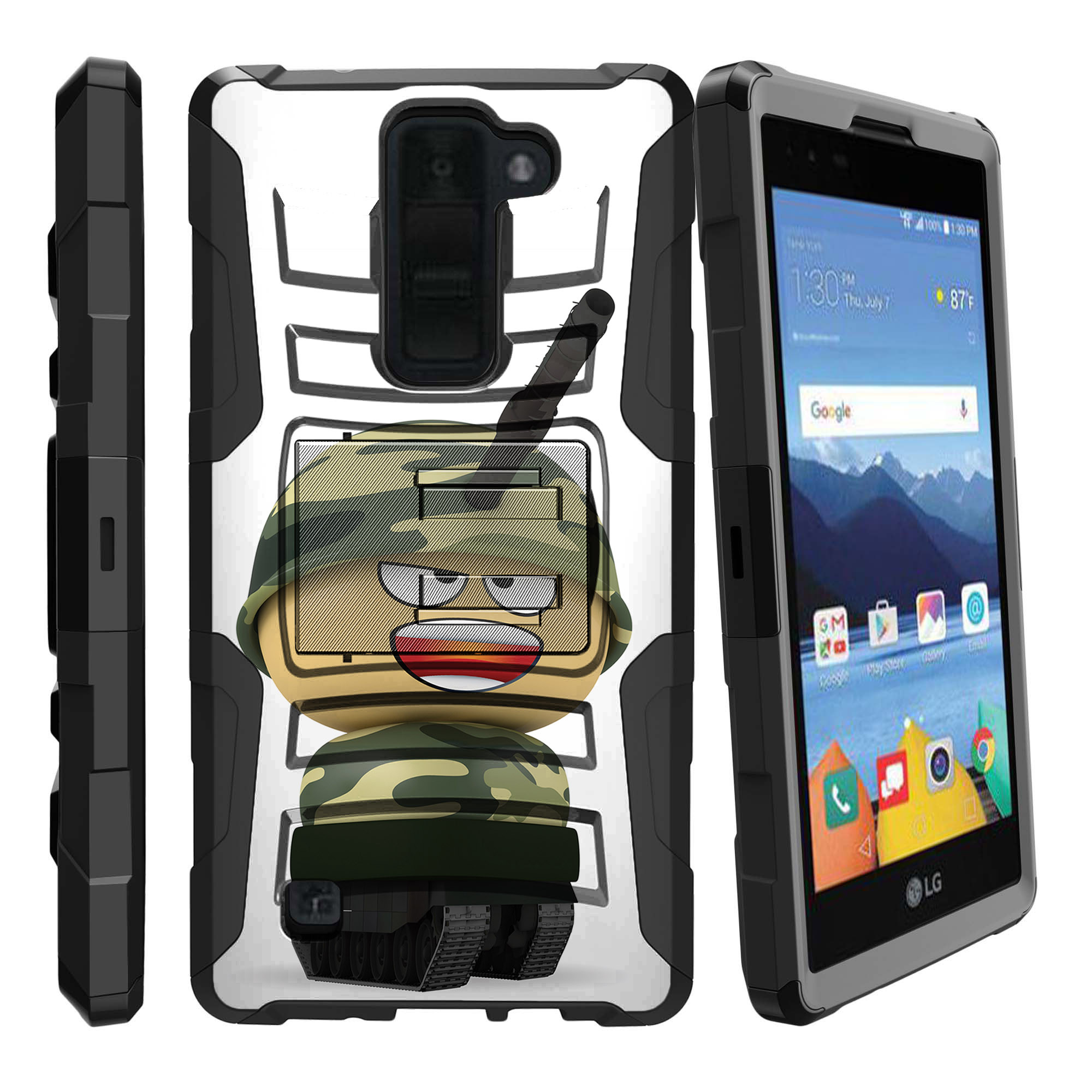 LG K8V and VS500 Miniturtle® Clip Armor Dual Layer Case Rugged Exterior with Built in Kickstand + Holster - Pink Elephant