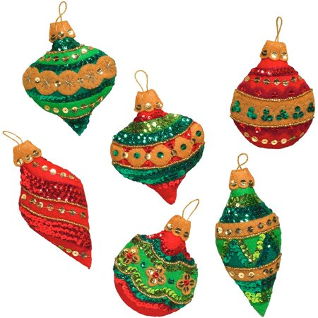 Felt Applique Ornament Kit, 86725 Glitzy Ornaments (Set of 6), Bucilla's Glitzy Ornaments felt kit lets you create 6 unique ornaments By -