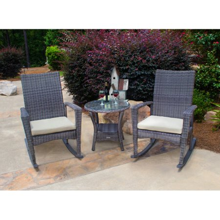 Stupendous Tortuga Outdoor Bayview 3 Piece Resin Wicker Outdoor Rocking Chair Set Inzonedesignstudio Interior Chair Design Inzonedesignstudiocom
