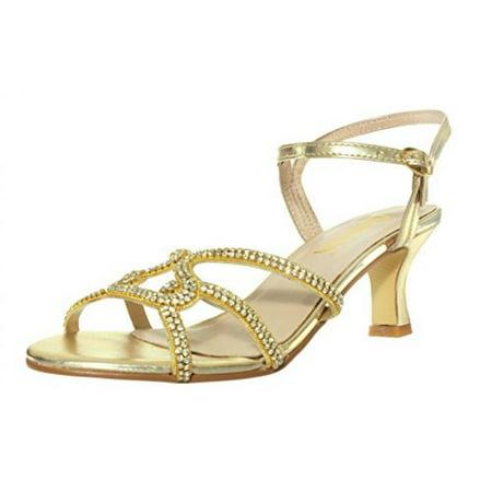 7fac3b45463 Amiana - Amiana Women s Rhinestone Kitten Heel Dress Sandal
