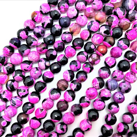 UnCommon Artistry Hot Pink & Black Crab Fire Agate 8mm Faceted Round Beads (16