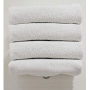 """Canadian Linen Basic Economy Cotton Bath Sheets 30""""X60"""" Inch, Absorbent Light Weight Thin Quick Dry Hypoallergenic Multipurpose Home Pool Beach Gym Hair Salon Yoga Institutional Towels, White, 4 Pack"""