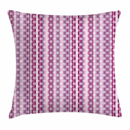 Purple Throw Pillow Cushion Cover, Barcode Style Vertical Stripes Background with White Polka Dots European Motifs, Decorative Square Accent Pillow Case, 18 X 18 Inches, Multicolor, by Ambesonne