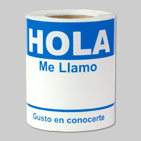 Sky Blue Hola Me Llamo Gusto En Conocerte Labels   Sky Blue Spanish Name Tag Identification Stickers  White Sky Blue   4  X 2 31     100 Labels Per Package