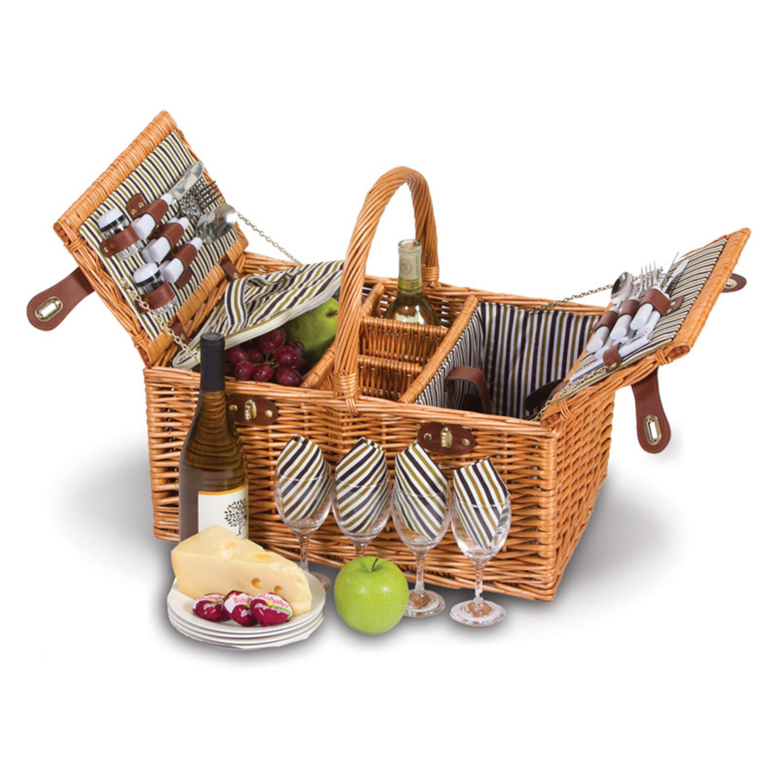 Picnic Plus Dilworth 4 Person Picnic Basket - Pinstripe Lining