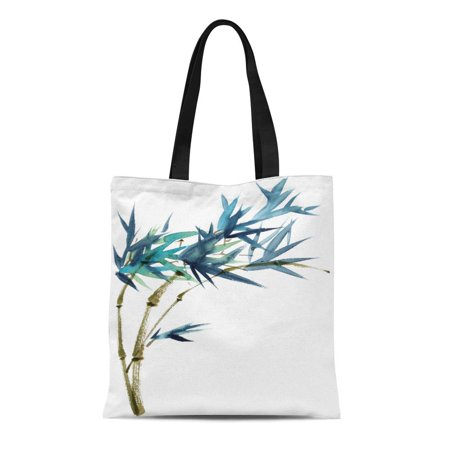 LADDKE Canvas Bag Resuable Tote Grocery Shopping Bags Watercolor and Ink of Bamboo in Style Sumi E U Sin Oriental Traditional Painting Tote Bag