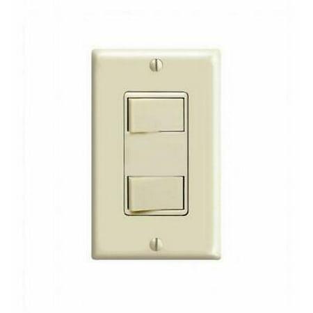 LEVITON 1754-ISP 15Amp 120V Decora Dual Rocker Combination Switch, Ivory