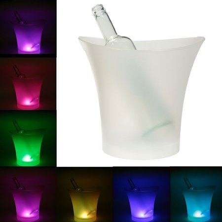 5L LED Color Changing Ice Bucket Champagne Wine Chiller Drink Cooler Retro Party Christmas Birthday Bar Home Hotel KTV US (Styrofoam Ice Buckets For Parties)