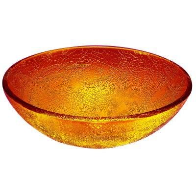 Hembry Creek Above-Counter Glass Vessel Bathroom Sink, Amber Engraved