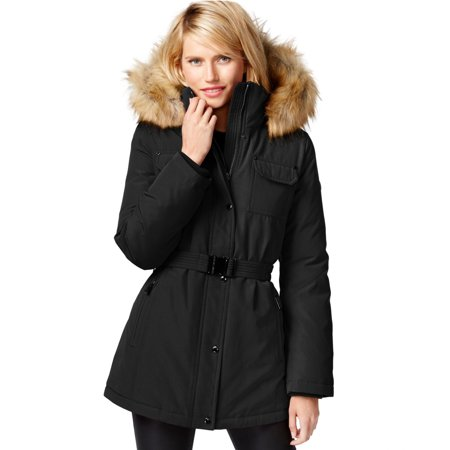Michael Kors Heavy Down Puffer Jacket Hood down Parka Faux Fur Black Small (XS)