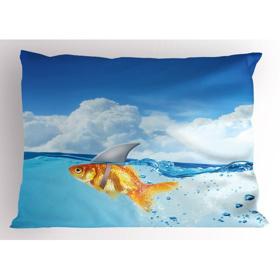 Cute Shark Pillow : Shark Pillow Sham Cute Goldfish with Shark Fin on Top of the Water Fake Comical Humorous Nature ...