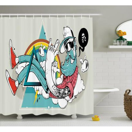 Hipster Shower Curtain, Tattooed Cool Dude with Long Beard Going Through Abstract Triangle Shape on Clouds, Fabric Bathroom Set with Hooks, 69W X 70L Inches, Multicolor, by Ambesonne - Dude Shower