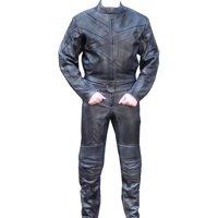 Perrini 2 PC Genuine Leather Motorbike Motorcycle Drag Racing Suit Black with Metal Waist Zipper