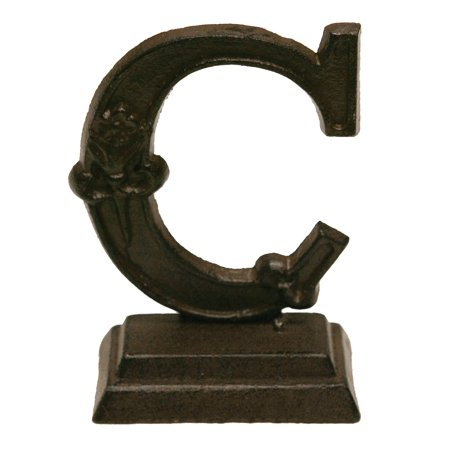 Iron Ornate Standing Monogram Letter C Tabletop Figurine 5 Inches