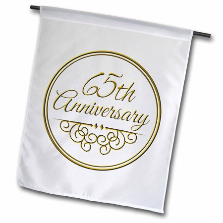 3dRose 65th Anniversary gift - gold text for celebrating wedding anniversaries - 65 years married together - Garden Flag, 12 by