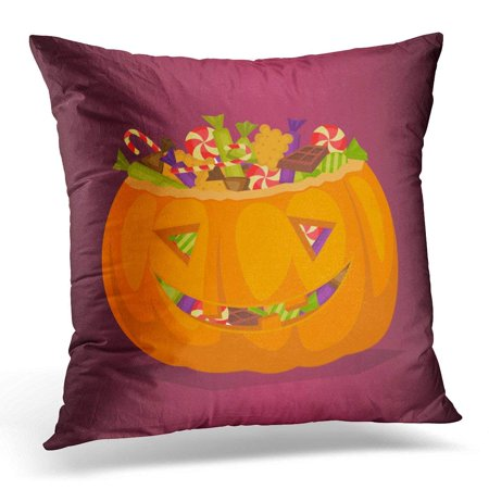 CMFUN Black Autumn Halloween Pumpkin Full of Candy Treats Cartoon Symbol Design Concept All Hallows Evening Pillow Case Pillow Cover 20x20 - Halloween Text Symbols