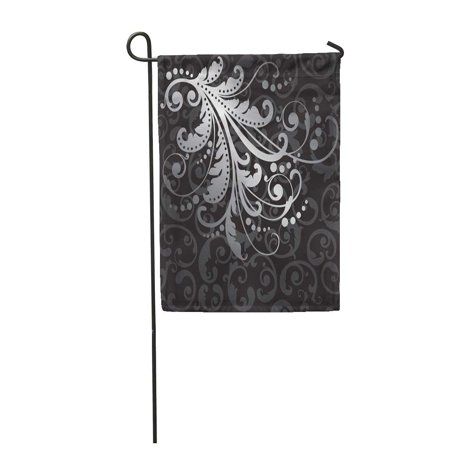POGLIP Victorian Floral Silver on Black Swirls Pattern This is Garden Flag Decorative Flag House Banner 12x18 inch - image 1 of 1