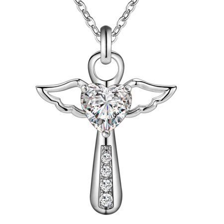 Directer Jesus Cross Love Angel Heart Wing Silver Plated Pendant Necklace Women Girl Gift - Cross Necklace For Girl