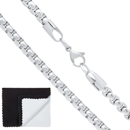 Durable Stainless Steel 5mm Rounded Box Link Chain Necklace, 30