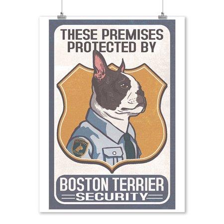 Boston Terrier Security - Dog Sign - Lantern Press Artwork (9x12 Art Print, Wall Decor Travel Poster)