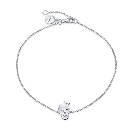 Crown Skull Smiling Charms Anklet Hotwire Ankle Bracelet For Women 925 Sterling Silver Adjustable 9 To 10 Inch - image 2 of 2