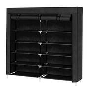 Zimtown 36 Pairs Black Shoe Rack Double Row Shoe Tower 7 Tier Portable Shoe Storage Cabinet Organizer