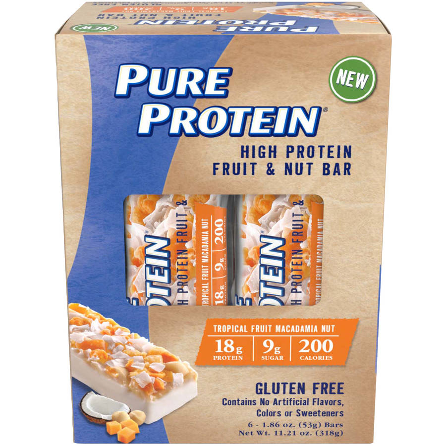 Pure Protein Bar, 18 Grams of Protein, Tropical Fruit Macadamia Nut, 1.86 Oz, 6 Ct