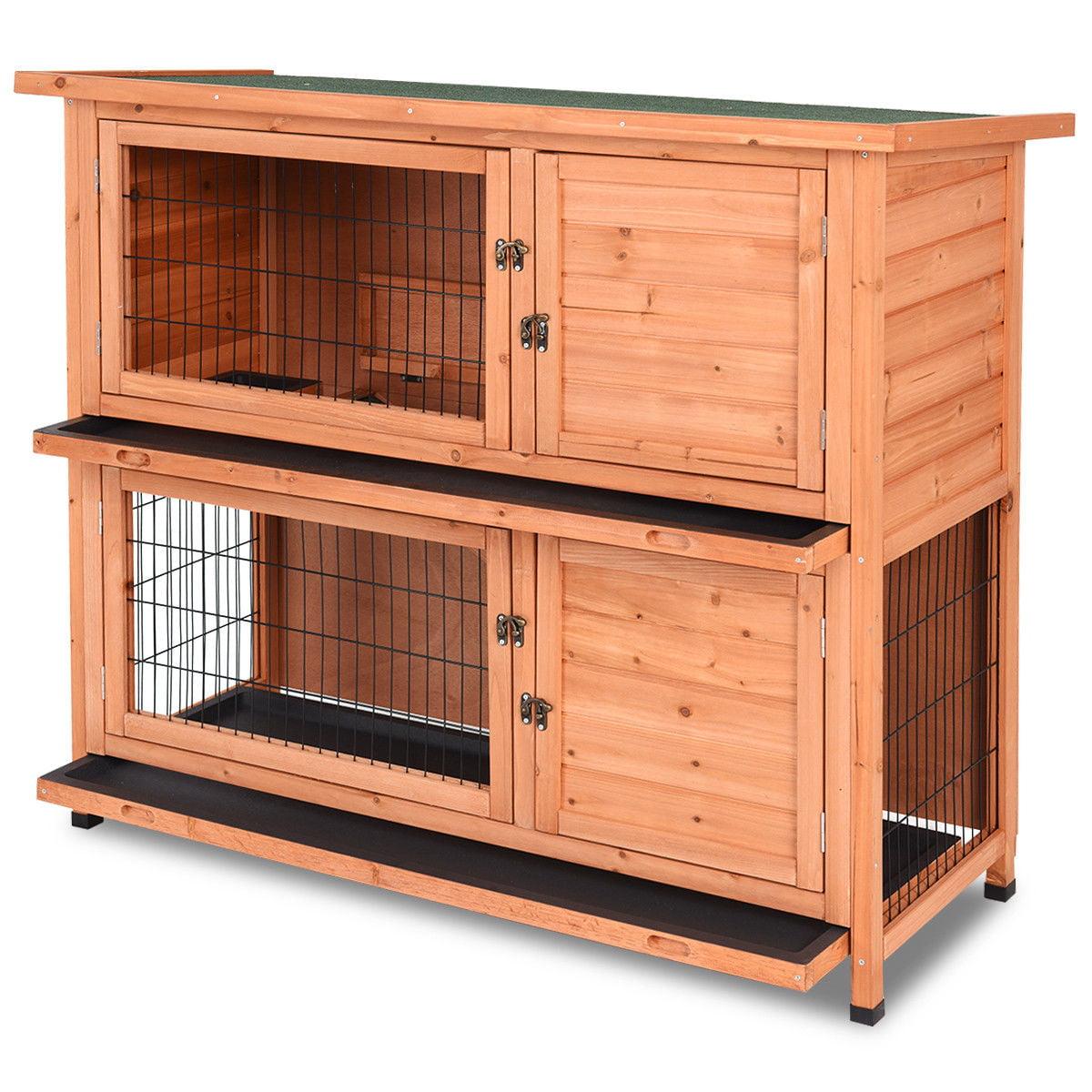 Gymax 48'' Wooden Rabbit Hutch