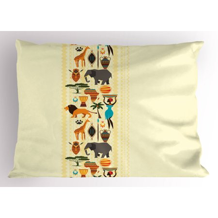 African Pillow Sham The Dark Continent Ethnic Elements Woman of Color Carrying Water Lion Elephant, Decorative Standard Size Printed Pillowcase, 26 X 20 Inches, Multicolor, by Ambesonne (Women Carry Water)