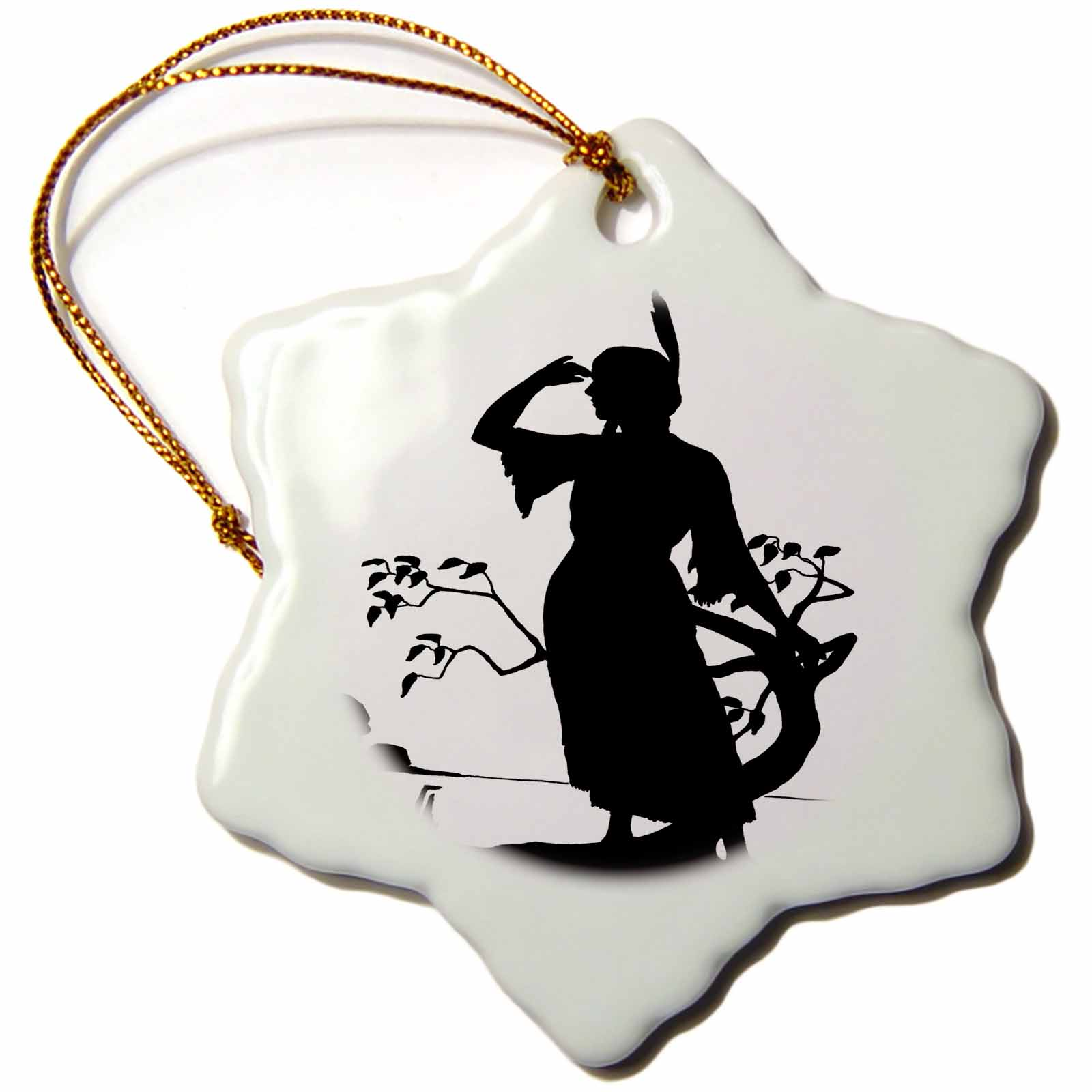 3dRose Image of Silhouette Of Native American Woman - Snowflake Ornament, 3-inch