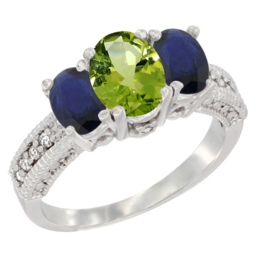 14K White Gold Diamond Natural Peridot Ring Oval 3-stone with HQ Blue Sapphire, size 5 by Gabriella Gold