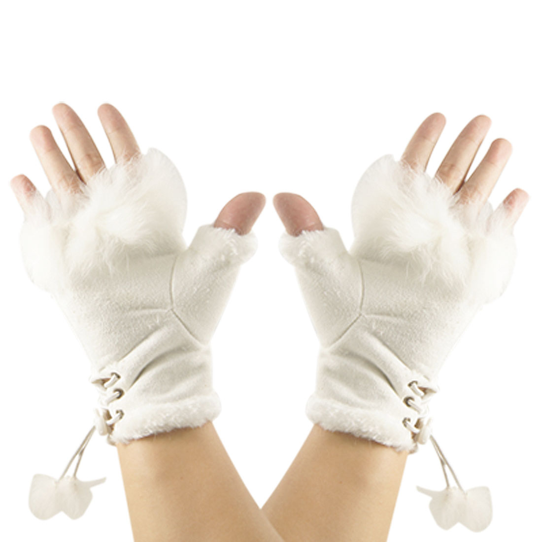 Girl's Pair Winter Warm Faux Suede Fingerless Gloves Gift White