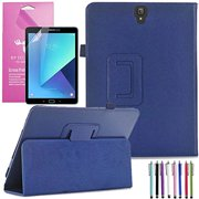Samsung Galaxy Tab S3 9.7 Case, EpicGadget(TM) PU Leather Folding Folio (With S Pen) Auto Sleep/Wake Case for Tab S3 9.7 Inch SM-T820/T825 2017 Tablet With Screen Protector and 1 Stylus (Navy Blue)